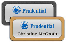 Shiny Silver Metal Name Tags with Plastic Borders