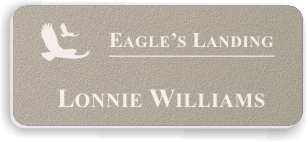 Textured Plastic Nametag: Ash Grey with White - 822-302