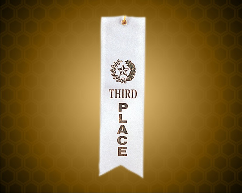 White 3rd Place Carded Ribbon