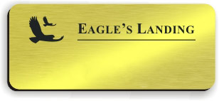 Blank Smooth Plastic Name Tag with Logo: Shiny Gold and Black - LM 922-734