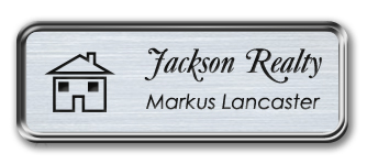 Silver Metal Framed Nametag with Brushed Aluminum and Black