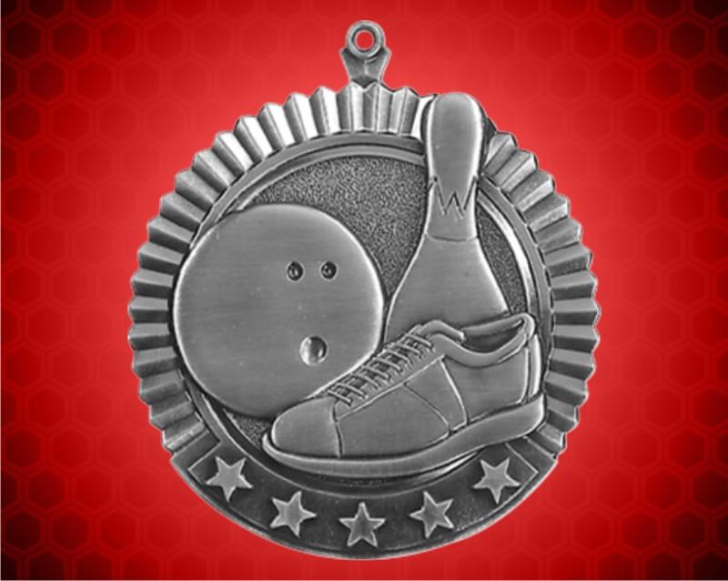 2 3/4 inch Silver Bowling Star Medal