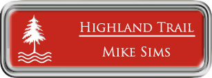 Framed Name Tag: Silver Plastic (rounded corners) - Crimson and White Plastic Insert