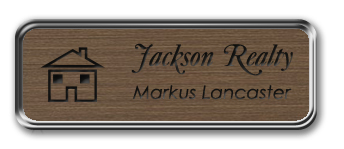 Framed Name Tag: Silver Metal (rounded corners) - Deep Bronze and Black Plastic Insert with Epoxy