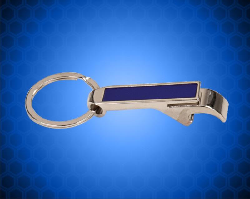 2-1/2 inch Blue Laserable Bottle Opener Keychain