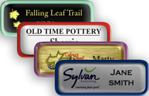 Metal Name Tags with Epoxy and Border