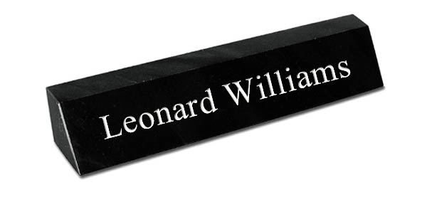 Black Marble Desk Plate with - White Engraving