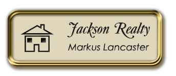 Framed Name Tag: Gold Metal (rounded corners) - Almond and Black Plastic Insert with Epoxy