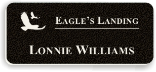 Textured Plastic Nametag: Coal Black with White - 822-422