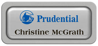 Metal Name Tag: Shiny Silver Metal Name Tag with a Silver Plastic Border and Epoxy