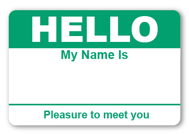 Sticker Hello My Name is Teal Name Tags