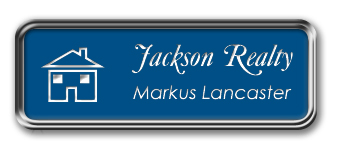 Silver Metal Framed Nametag with Sky Blue and White