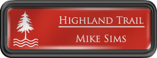 Framed Name Tag: Black Plastic (rounded corners) - Crimson and White Plastic Insert with Epoxy