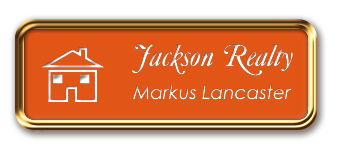 Rose Gold Metal Framed Nametag with Tangerine and White