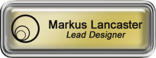 Framed Name Tag: Silver Plastic (rounded corners) - Shiny Gold and Black Plastic Insert with Epoxy