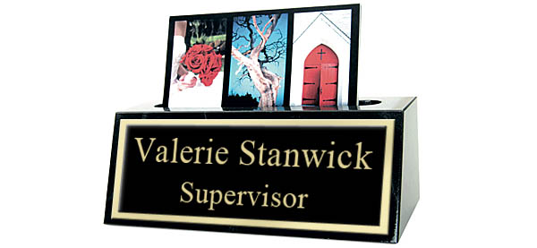 Black Marble Card Holder Small Desk Name Plate - Black and Gold Plate with Shiny Gold Border