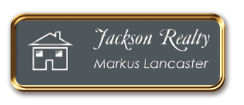 Framed Name Tag: Rose Gold Metal (rounded corners) - Smoke Grey and White Plastic Insert with Epoxy