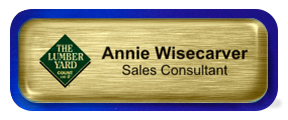 Metal Name Tag: Brushed Gold with Epoxy and Shiny Blue Metal Border