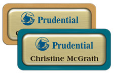 Brushed Gold Metal Name Tags with Plastic Borders and Epoxy