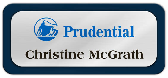 Metal Name Tag: Shiny Silver Metal Name Tag with a Marine Blue Plastic Border