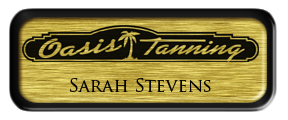 Metal Name Tag: Brushed Gold with Black Metal Border