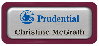Metal Name Tag: Brushed Silver Metal Name Tag with a Burgundy Plastic Border and Epoxy