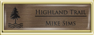Framed Name Tag: Gold Plastic (squared corners) - Deep Bronze and Black Plastic Insert with Epoxy