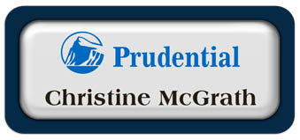 Metal Name Tag: White Metal Name Tag with a Marine Blue Plastic Border and Epoxy