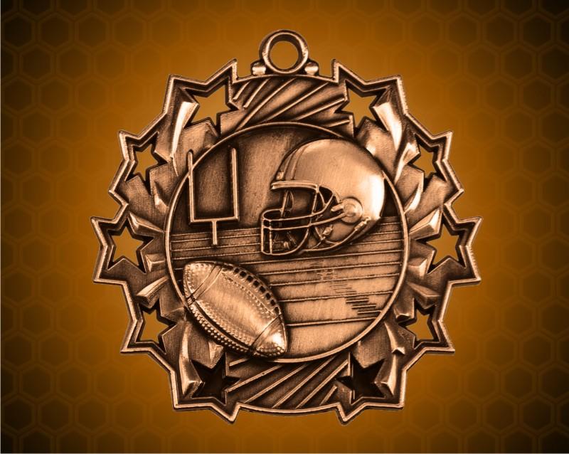 2 1/4 Inch Bronze Football Ten Star Medals