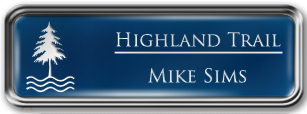 Framed Name Tag: Silver Metal (rounded corners) - Patriot Blue and White Plastic Insert with Epoxy