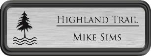 Framed Name Tag: Black Plastic (rounded corners) - Brushed Aluminum and Black Plastic Insert