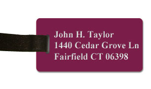 Smooth Plastic Luggage Tag: Claret with White - LM922-622