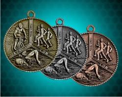 1 1/2 Inch Triathlon Die Cast Medal