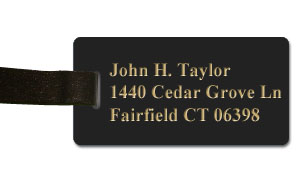 Smooth Plastic Luggage Tag: Black with Gold - LM922-417