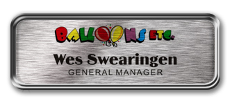 Silver Metal Framed Nametag with Brushed Silver Metal Insert