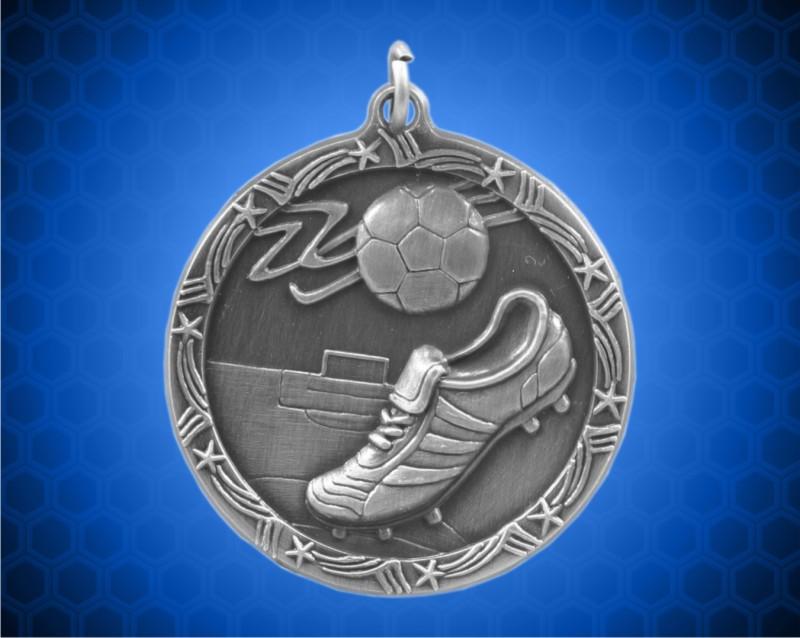 1 3/4 inch Silver Soccer Shooting Star Medal