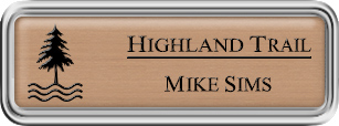 Framed Name Tag: Silver Plastic (rounded corners) - Brushed Copper and Black Plastic Insert with Epoxy