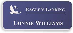 Smooth Plastic Name Tag: Purple with White - LM922-582