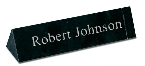 Black Marble Triangle Desk Plate - Silver Engraving