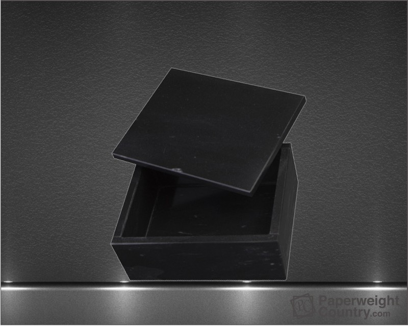2 x 5 x 4 Inch Jet Black Marble Rectangular Box with Lid