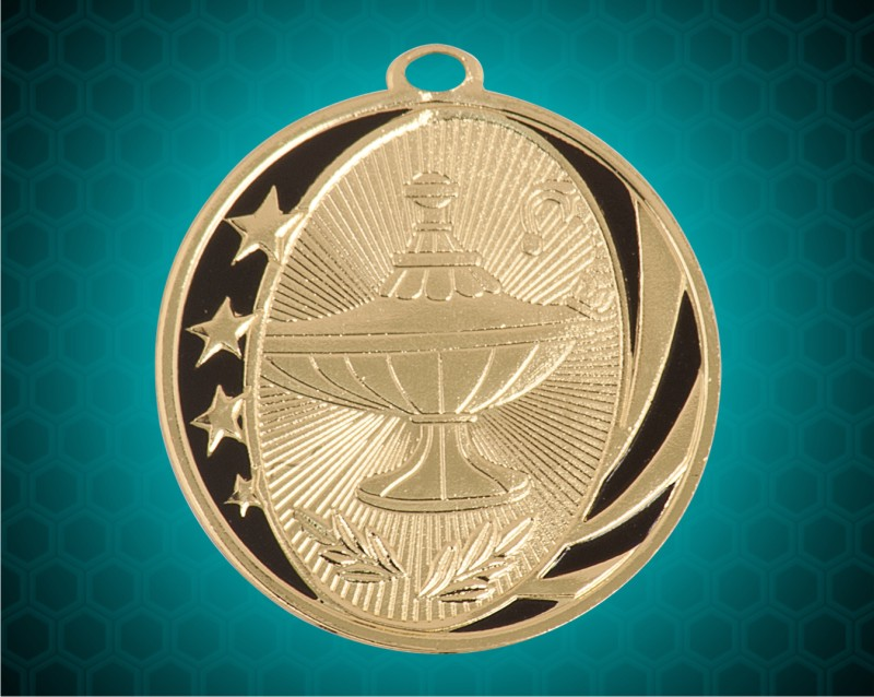 2 inch Gold Lamp of Knowledge Laserable MidNite Star Medal