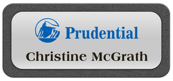 Metal Name Tag: Shiny Silver Metal Name Tag with a Graphite Plastic Border
