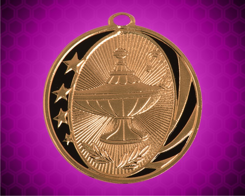 2 inch Bronze Lamp of Knowledge Laserable MidNite Star Medal