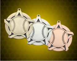 2 1/4 inch Baseball Super Star Medals