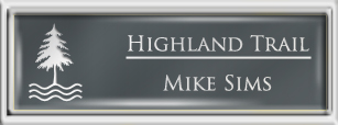 Framed Name Tag: Silver Plastic (squared corners) - Smoke Grey and White Plastic Insert with Epoxy