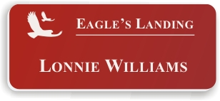 Smooth Plastic Name Tag: Crimson with White - LM922-602