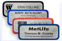 Brushed Silver Metal Nametag with Border