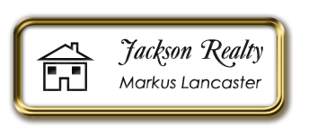 Framed Name Tag: Gold Metal (rounded corners) - White and Black Plastic Insert with Epoxy