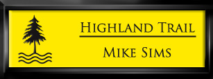 Framed Name Tag: Black Plastic (squared corners) - Canary Yellow and Black Plastic Insert