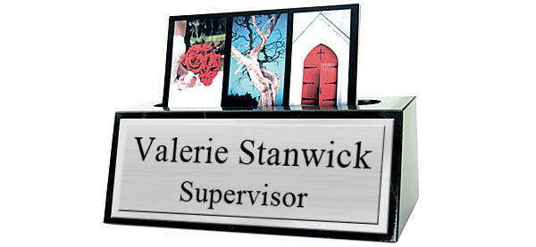 Black Marble Card Holder Desk Name Plate - Brushed Silver Metal Plate with Shiny Silver Border